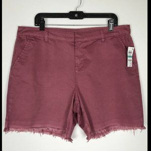NWT STYLE & CO RED SALMON MID RISE RAW HEM SHORTS